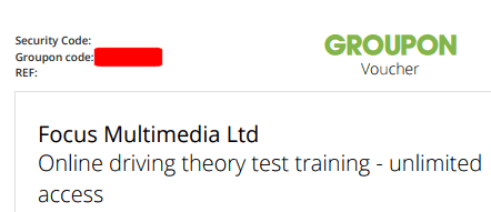 i have a groupon voucher code for a driving test success product